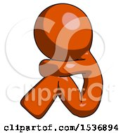 Orange Design Mascot Man Sitting With Head Down Facing Sideways Left