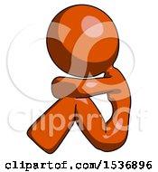 Orange Design Mascot Woman Sitting With Head Down Facing Sideways Left