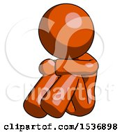 Orange Design Mascot Woman Sitting With Head Down Facing Angle Left