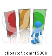 Blue Figure Standing In Front Of Three Different Colored Doors Symbolizing Different Paths To Take For Job Opportunities Or Life Choices Clipart Illustration Image