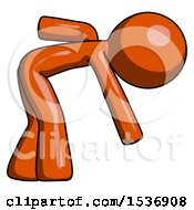 Orange Design Mascot Man Picking Something Up Bent Over