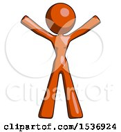 Orange Design Mascot Woman Surprise Pose Arms And Legs Out