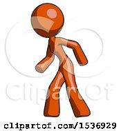 Orange Design Mascot Woman Suspenseaction Pose Facing Left