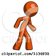Orange Design Mascot Man Suspense Action Pose Facing Right