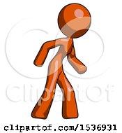 Orange Design Mascot Woman Suspense Action Pose Facing Right