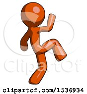 Orange Design Mascot Man Kick Pose Start