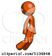 Orange Design Mascot Woman Floating Through Air Right