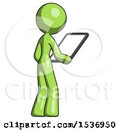 Green Design Mascot Woman Looking At Tablet Device Computer Facing Away