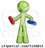 Green Design Mascot Man Red Pill Or Blue Pill Concept