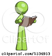 Green Design Mascot Woman Reading Book While Standing Up Facing Away