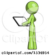 Green Design Mascot Woman Looking At Tablet Device Computer With Back To Viewer