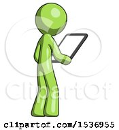 Green Design Mascot Man Looking At Tablet Device Computer Facing Away