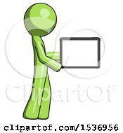 Green Design Mascot Man Show Tablet Device Computer To Viewer Blank Area