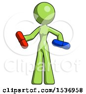 Green Design Mascot Woman Red Pill Or Blue Pill Concept