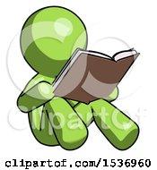 Green Design Mascot Man Reading Book While Sitting Down