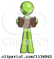 Green Design Mascot Woman Reading Book While Standing Up Facing Viewer
