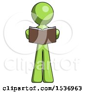 Green Design Mascot Man Reading Book While Standing Up Facing Viewer