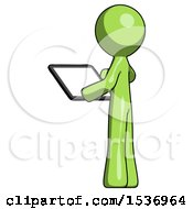 Green Design Mascot Man Looking At Tablet Device Computer With Back To Viewer