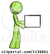 Green Design Mascot Woman Show Tablet Device Computer To Viewer Blank Area