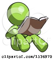 Green Design Mascot Woman Reading Book While Sitting Down