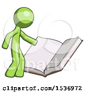 Green Design Mascot Man Reading Big Book While Standing Beside It