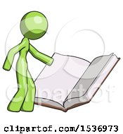 Green Design Mascot Woman Reading Big Book While Standing Beside It