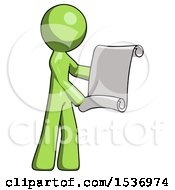Green Design Mascot Man Holding Blueprints Or Scroll