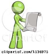 Green Design Mascot Woman Holding Blueprints Or Scroll