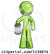 Green Design Mascot Man Begger Holding Can Begging Or Asking For Charity