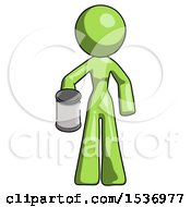 Green Design Mascot Woman Begger Holding Can Begging Or Asking For Charity