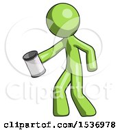 Green Design Mascot Man Begger Holding Can Begging Or Asking For Charity Facing Left