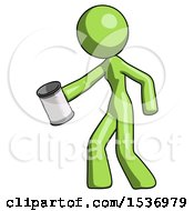 Green Design Mascot Woman Begger Holding Can Begging Or Asking For Charity Facing Left