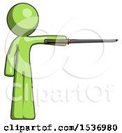 Green Design Mascot Man Standing With Ninja Sword Katana Pointing Right