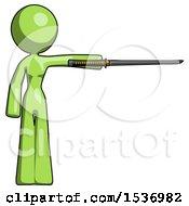 Green Design Mascot Woman Standing With Ninja Sword Katana Pointing Right