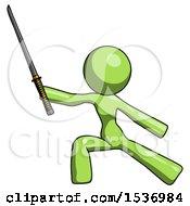 Green Design Mascot Woman With Ninja Sword Katana In Defense Pose