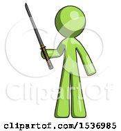Green Design Mascot Man Standing Up With Ninja Sword Katana