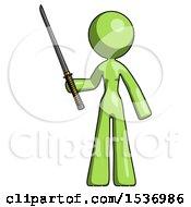 Green Design Mascot Woman Standing Up With Ninja Sword Katana