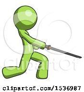 Green Design Mascot Man With Ninja Sword Katana Slicing Or Striking Something