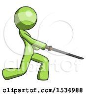 Green Design Mascot Woman With Ninja Sword Katana Slicing Or Striking Something