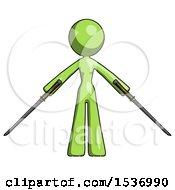 Green Design Mascot Woman Posing With Two Ninja Sword Katanas