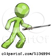 Green Design Mascot Man Stabbing With Ninja Sword Katana