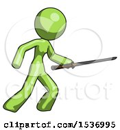 Green Design Mascot Woman Stabbing With Ninja Sword Katana