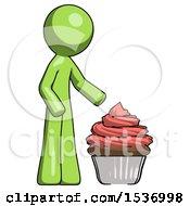 Green Design Mascot Man With Giant Cupcake Dessert