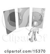 Silver Figure Standing In Front Of Three Different Doors Symbolizing Different Paths To Take For Job Opportunities Or Life Choices Clipart Illustration Image by 3poD