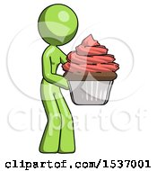 Green Design Mascot Woman Holding Large Cupcake Ready To Eat Or Serve