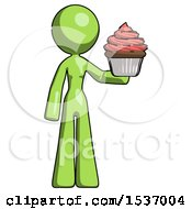 Green Design Mascot Woman Presenting Pink Cupcake To Viewer
