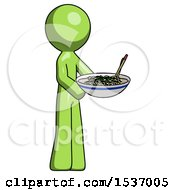 Green Design Mascot Man Holding Noodles Offering To Viewer