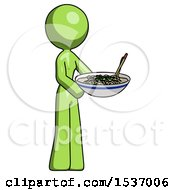Green Design Mascot Woman Holding Noodles Offering To Viewer