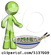 Green Design Mascot Man And Noodle Bowl Giant Soup Restaraunt Concept