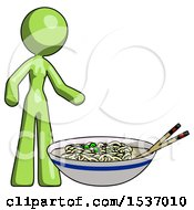 Green Design Mascot Woman And Noodle Bowl Giant Soup Restaraunt Concept